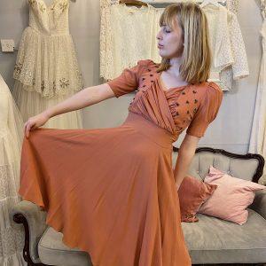 1940s peach crepe dress front